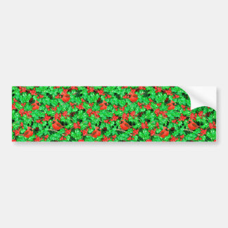 Cardinals and holly berry bumper sticker