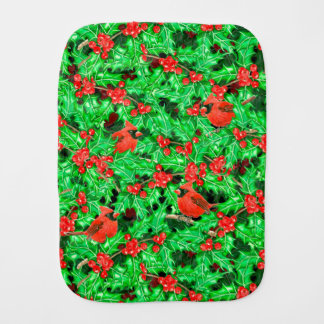 Cardinals and holly berry burp cloth