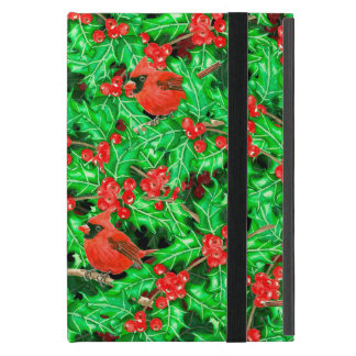 Cardinals and holly berry cover for iPad mini
