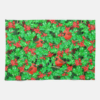 Cardinals and holly berry kitchen towel
