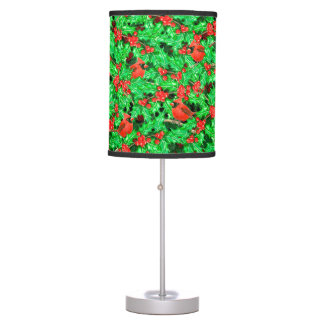 Cardinals and holly berry table lamp