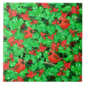 Cardinals and holly berry tile
