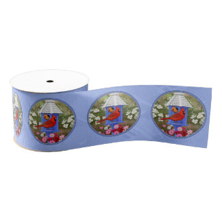 Cardinals and Tall Birdhouse Blue Grosgrain Ribbon