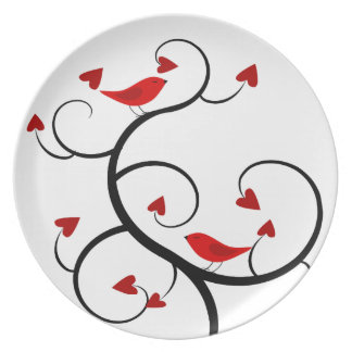 Cardinals and Vines Happy Valentine's Day Plate