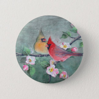 CARDINALS & APPLE BLOSSOMS by SHARON SHARPE 2 Inch Round Button