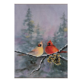 CARDINALS by SHARON SHARPE Poster