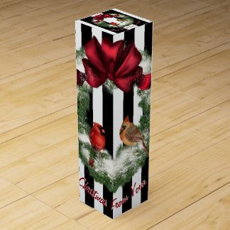 Cardinals Christmas Wreath Personalize Wine Box