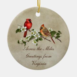 Cardinals Dogwoods Across The Miles Christmas Round Ceramic Ornament
