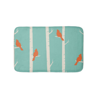 Cardinals in Birch Trees Bathroom Mat