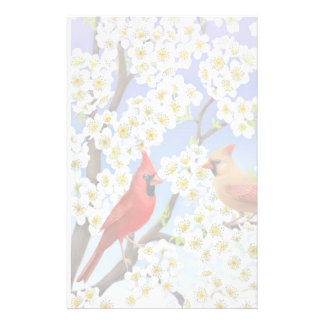 Cardinals in Flowering Tree Stationery