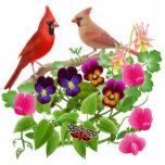 Cardinals in Wild Flowers Ornament Photo Cutouts