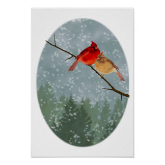 Cardinals in Winter Poster
