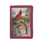 Cardinals in Winter Tri-fold Wallet