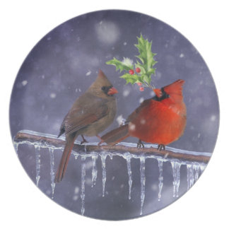 Cardinals of Christmas Party Plate
