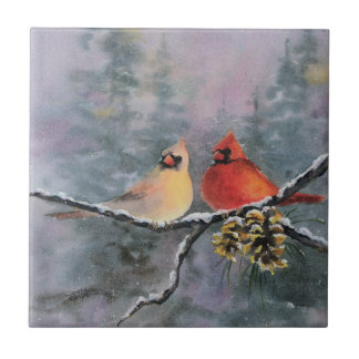 CARDINALS & PINE CONES by SHARON SHARPE Tile