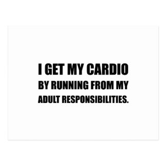 Cardio Running From Responsibilities Postcard