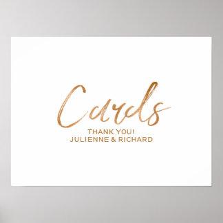 Cards 8x10 Stylish Rose Gold Wedding Sign