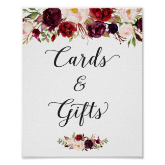 Cards and Gifts | Burgundy Floral Wedding Sign