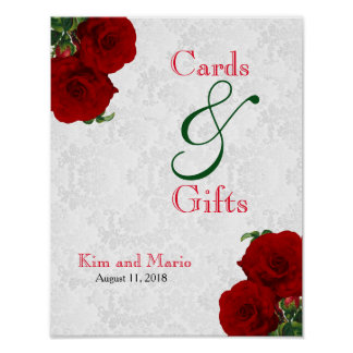 Cards and Gifts - Deep Red Rose Wedding Poster