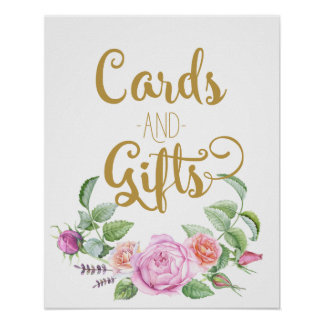 Wedding Gift Table Sign Template : cards and gifts floral wedding pink rose sign poster