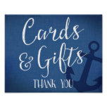 cards and gifts nautical wedding sign navy blue