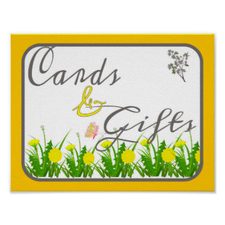 Cards and Gifts Poster Sign for Wedding, Party