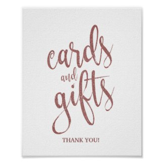 Cards and Gifts Rose Gold Glitter Wedding Sign