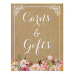 Cards and Gifts   Rustic Floral Kraft Wedding Sign