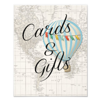Cards and Gifts Sign Baby Shower Hot Air Balloon