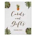 Cards and Gifts Sign Tropical Leaves Pineapple