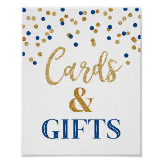 Cards and Gifts Wedding Sign Blue Gold Confetti Poster