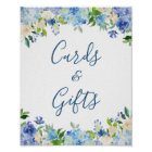 Cards and Gifts Wedding Sign Blue Hydrangea Floral