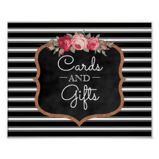 Cards and Gifts Wedding Sign | Chalkboard Roses Poster