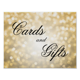 Cards And Gifts Wedding Sign Gold Bokeh Lights