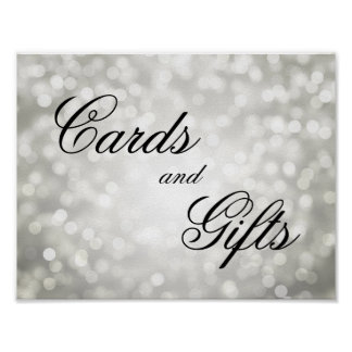 Cards And Gifts Wedding Sign Silver Bokeh Lights