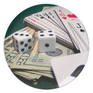 Cards Dice Money Plate