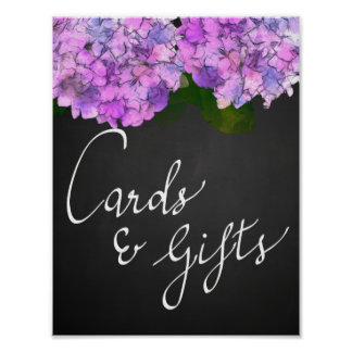 Cards & Gifts Chalkboard Wedding Hydrangea Floral Poster