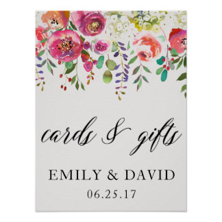 Cards & Gifts Watercolor Pink Floral Wedding Sign