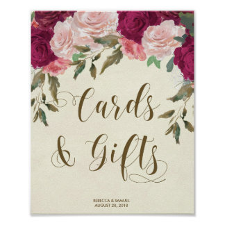 Cards Gifts wedding sign ivory pink florals