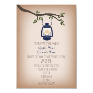 "Cardstock Inspired Blue Camping Lantern Wedding 5"" X 7"" Invitation Card"