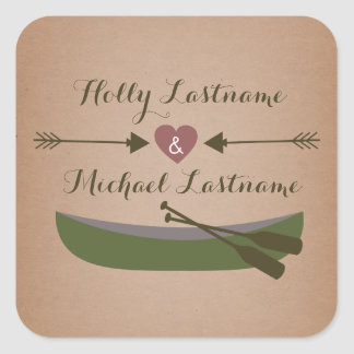 Cardstock Inspired Canoe + Heart With Arrows Square Sticker