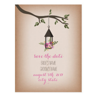 Cardstock Inspired Floral Lantern Save The Date Postcard