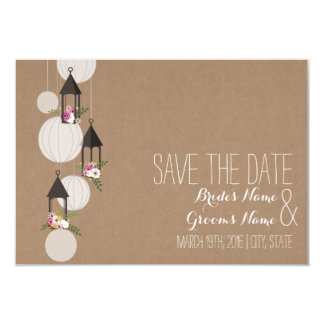 """Cardstock Inspired Floral Lanterns Save The Date 3.5"""" X 5"""" Invitation Card"""