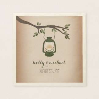 Cardstock Inspired Green Camping Lantern Wedding Paper Napkins