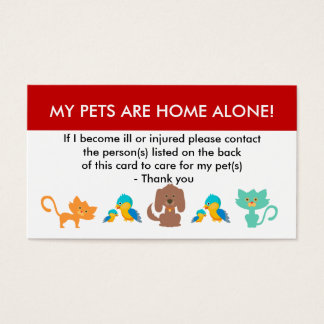 Care For My Pets Emergency Information Business Card