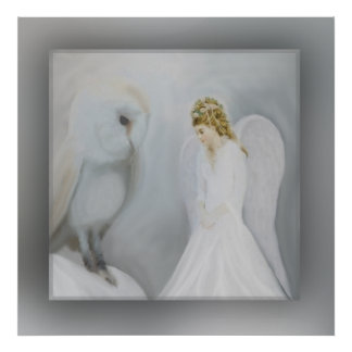 Care Guardian Angel and Owl Poster