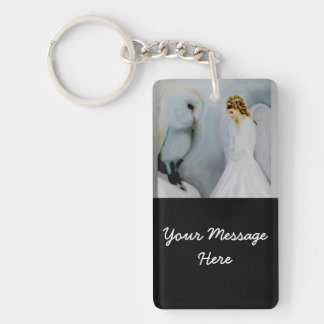 Care Guardian Angel and White Owl Double-Sided Rectangular Acrylic Keychain