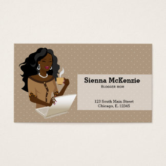Career Woman black hair Business Card