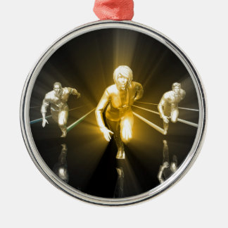 Career Woman Development with a Business Team Metal Ornament