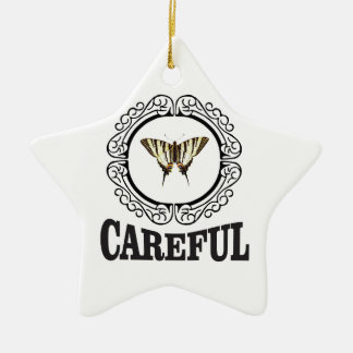 careful circle ceramic ornament